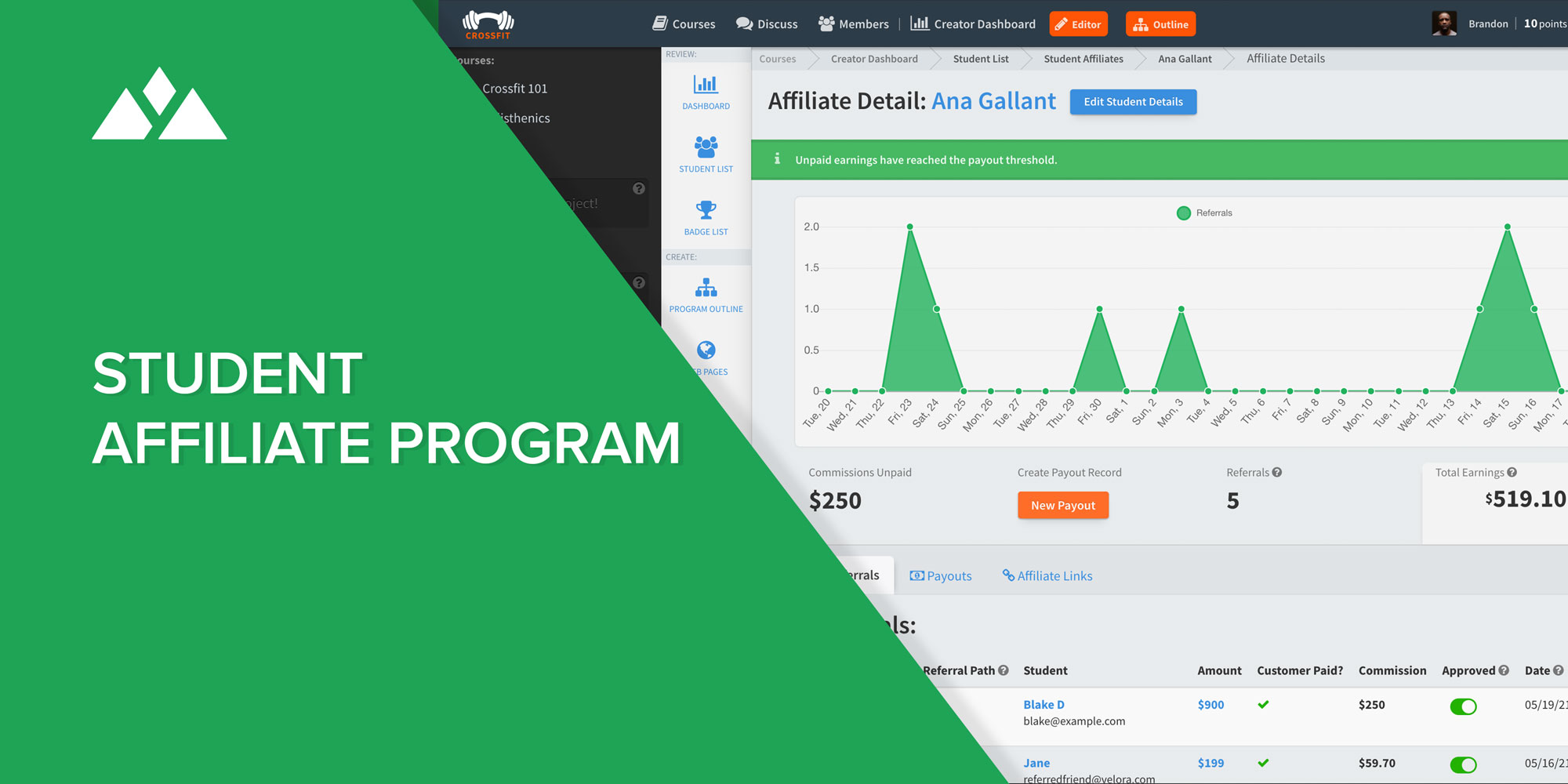 Heights Platforms online course creation software has a complete built-in affiliate feature