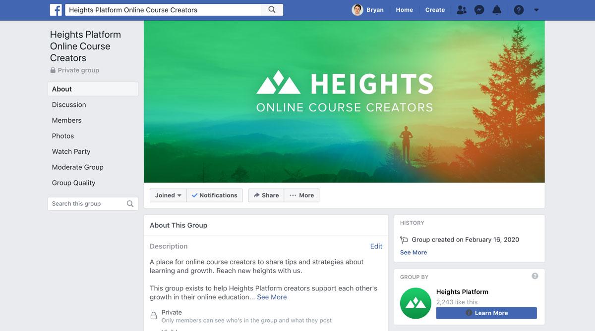 Heights Platform Facebook Group