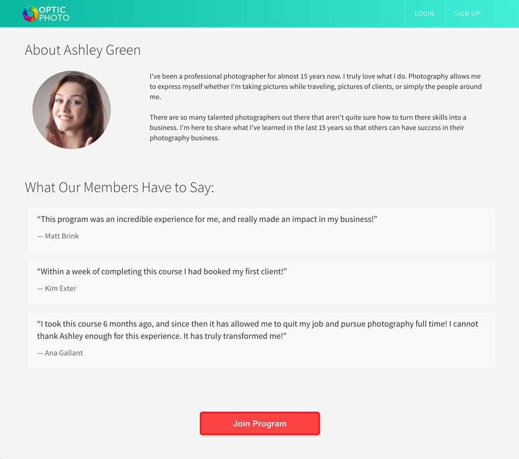 Heights Platform Landing Page Course Author Section