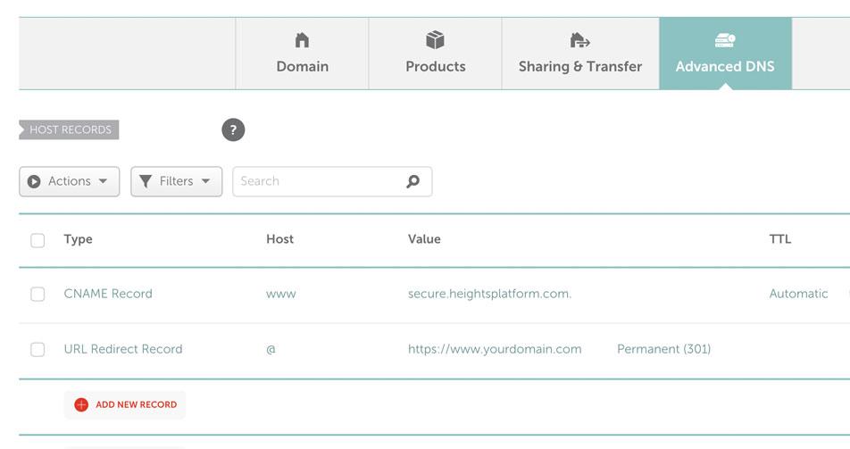 Domain Registrar DNS Settings Example