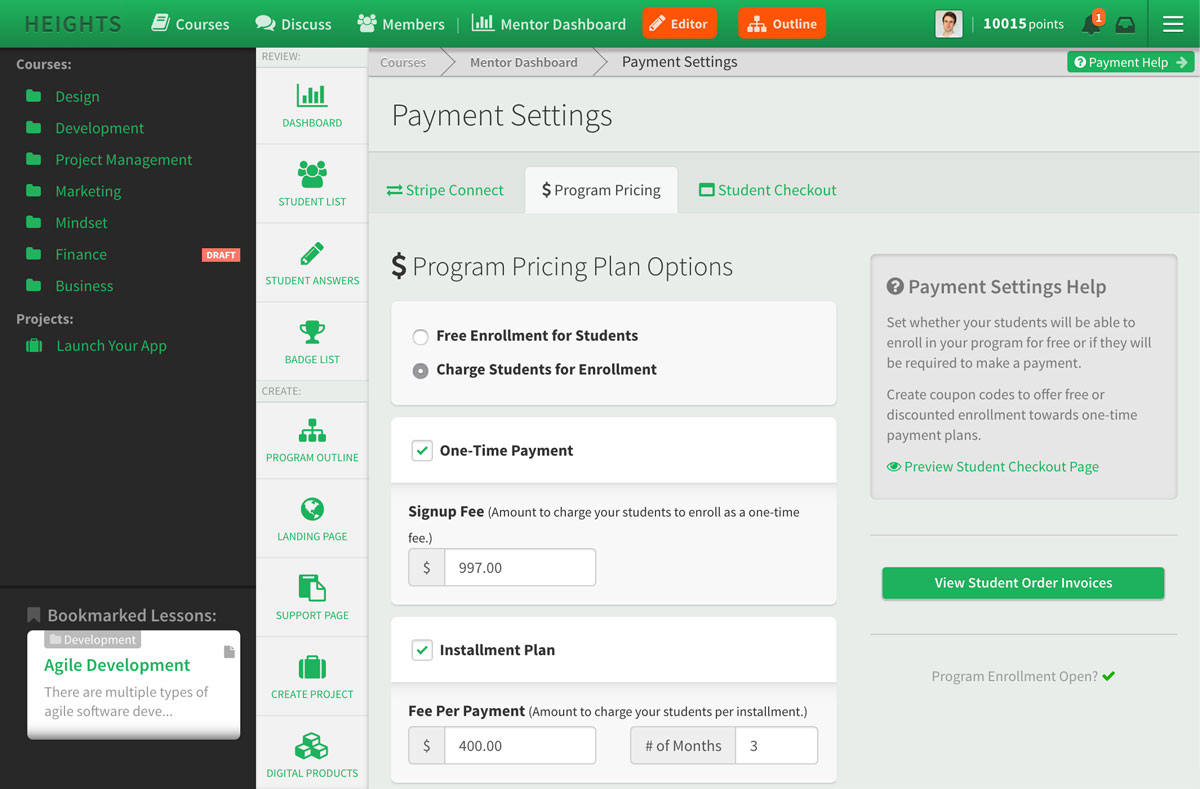 Heights Platform payment settings and enrollment plans