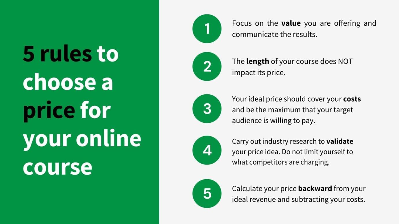 five rules to set a price for your online course