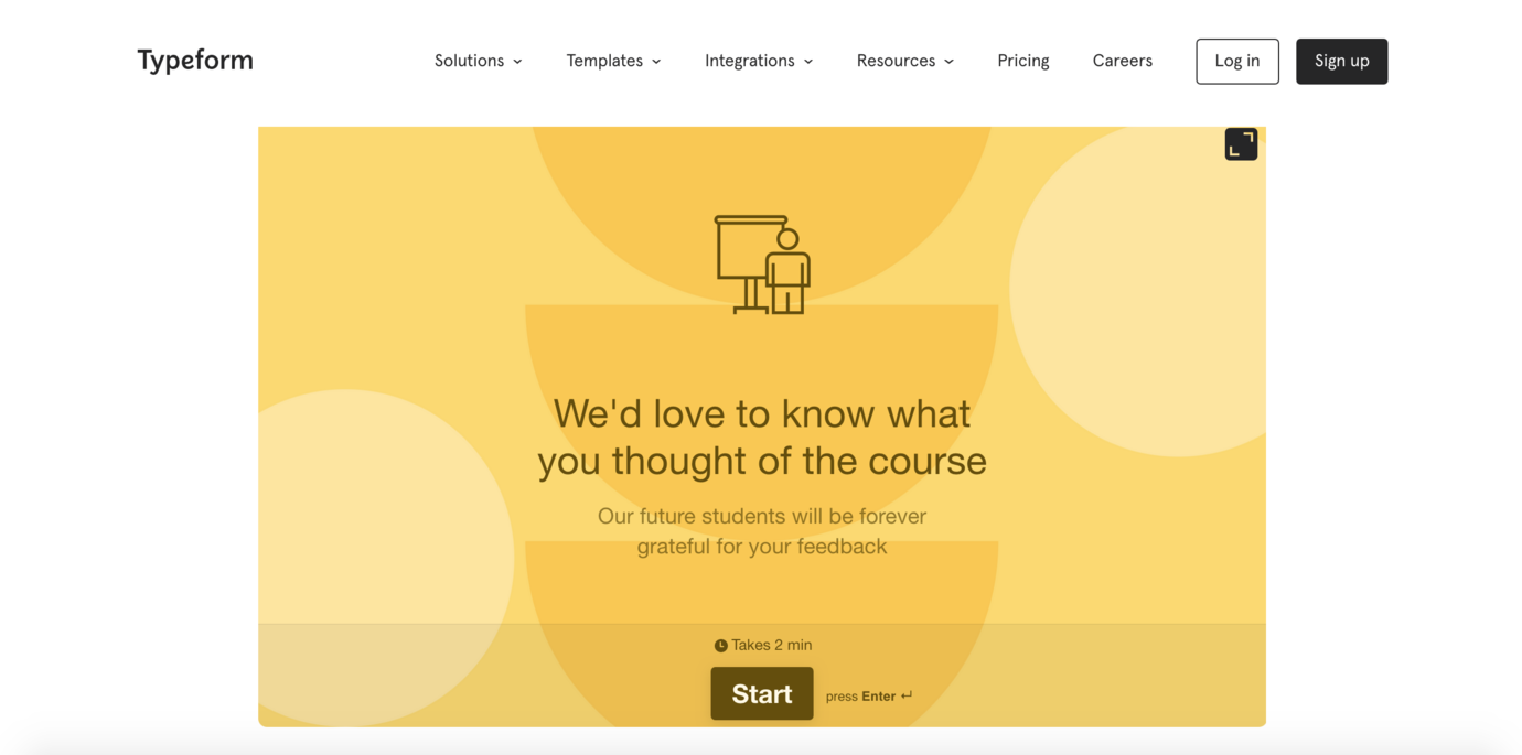 Typeform tool to embed in online course software