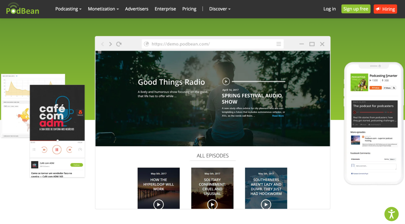 Podbean podcast tool to embed in online course software