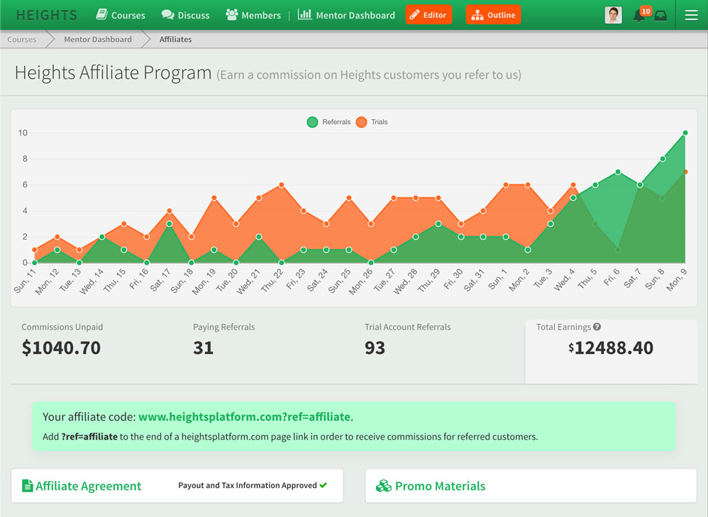 Heights Platform Affiliate Dashboard