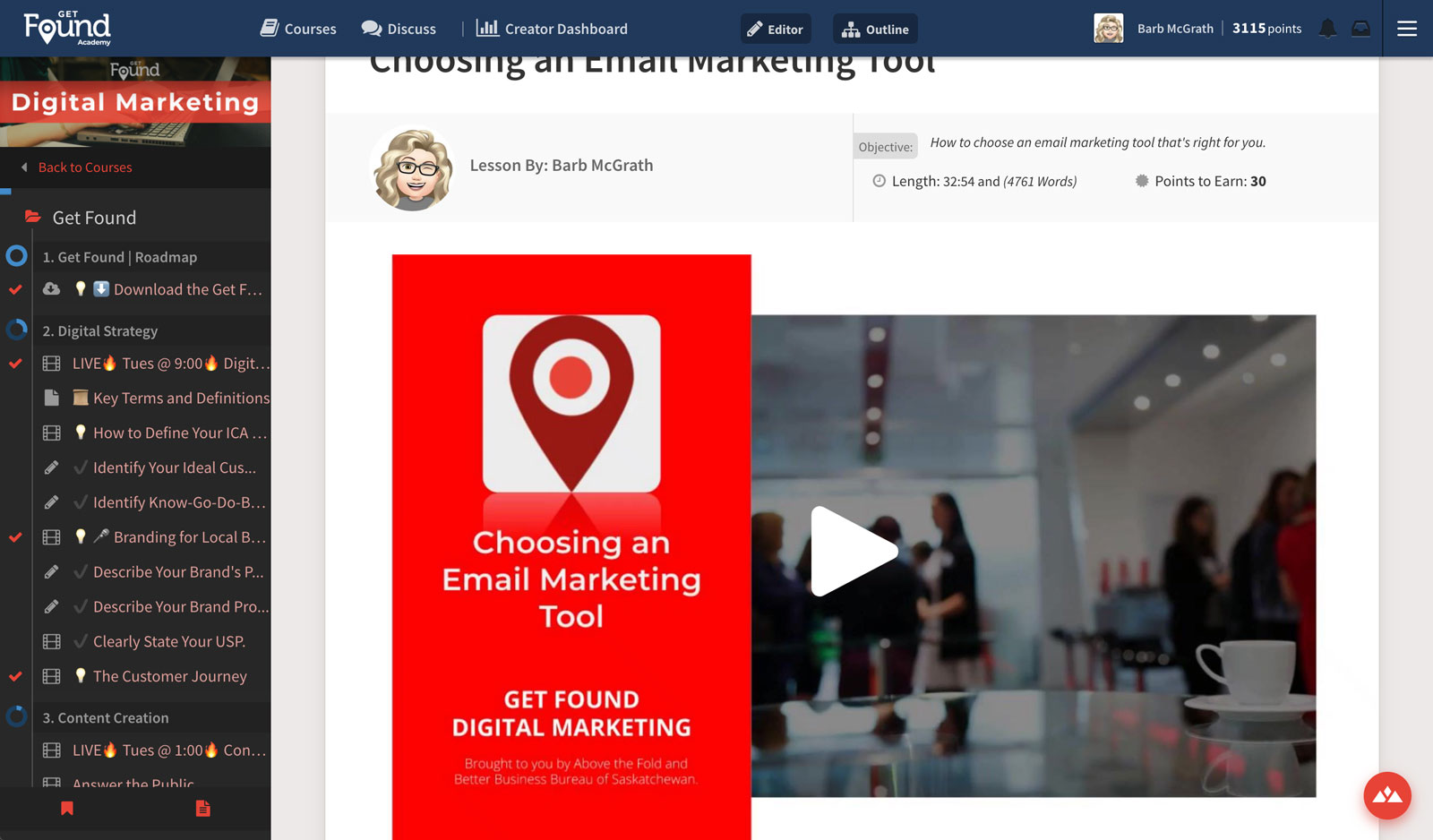 lesson view from online course creation software for a successful digital marketing course