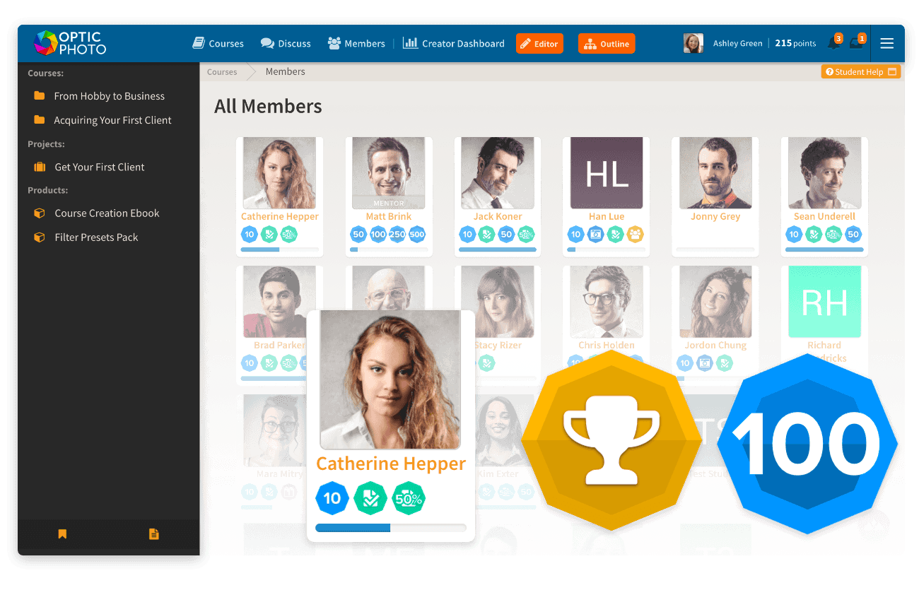 Gamification tools and badges to improve learner engagement to sell online courses with Heights Platform