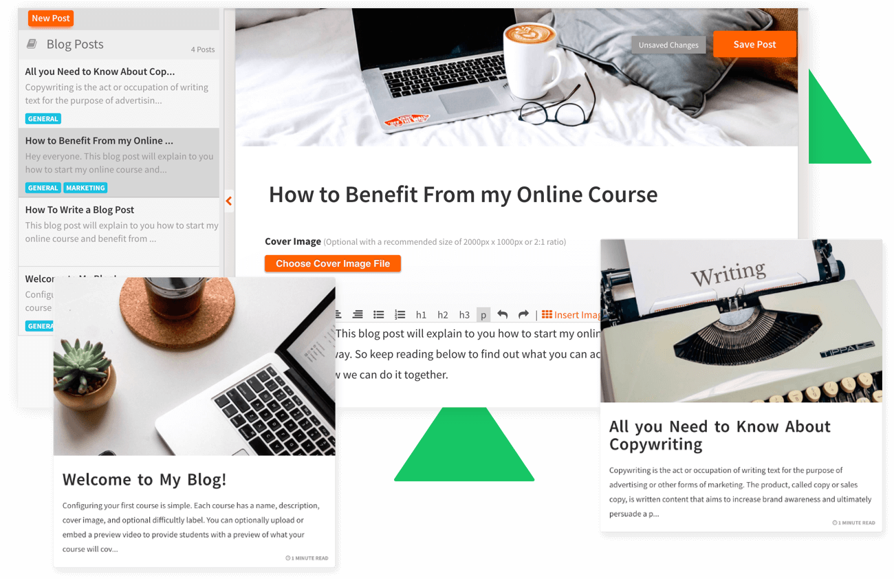 Heights Platform online course software blog feature, website and landing pages to sell online courses