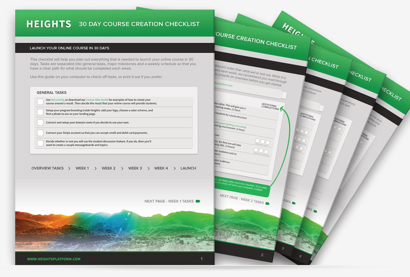 Heights Platform 30 Day Online Course Creation Checklist